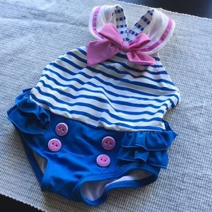 6-12M Striped Blue/Purple Swimsuit